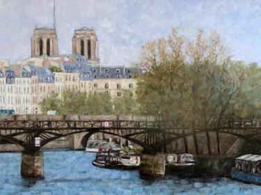 Le Pont des Arts et les tours de Notre Dame de Paris